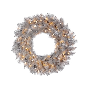 4' Platinum Wreath W/Clear Lights