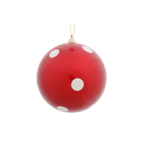 "Polka Dot Candy Ball Ornament 5.5"" Set of 12 Peppermint"