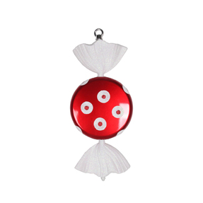 "Polka Dot Peppermint Ornament 13"" Set of 2"