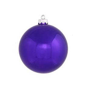 "Purple Ball Ornaments 5"" Shiny Set of 4"