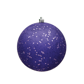 "Purple Ball Ornaments 4"" Sequin Set of 6"