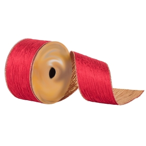 """Crushed Velvet Ribbon 2.5"""" Red"""