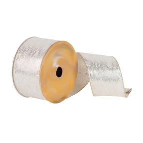 "Heathered Dupioni Ribbon 2.5"" Silver"