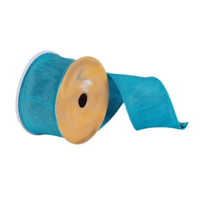 "Woven Dupioni Ribbon 2.5"" Turquoise"