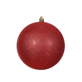 "Red Ball Ornaments 12"" Glitter Set of 2"
