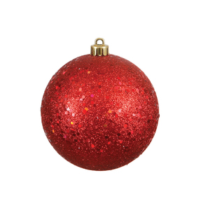 "Red Ball Ornaments 8"" Sequin Set of 4"