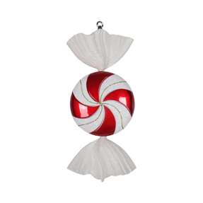 "Red Swirl Peppermint Ornament 18.5"" Set of 2"