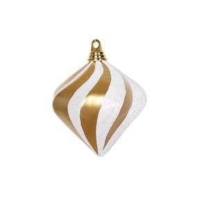 """Retro Glitter Diamond 6"""" Set of 2 Gold/White"""