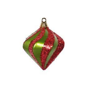 "Retro Glitter Diamond 6"" Set of 2 Lime/Red"