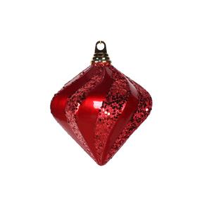 "Retro Glitter Diamond 6"" Set of 2 Red"