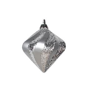 """Retro Glitter Diamond 6"""" Set of 2 Silver"""