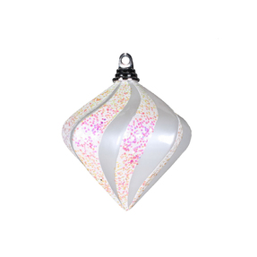 """Retro Glitter Diamond 6"""" Set of 2 White"""