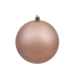 "Rose Gold Ball Ornaments 4"" Candy Finish Set of 6"