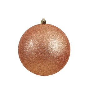 "Rose Gold Ball Ornaments 10"" Glitter Set of 2"