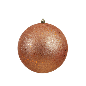 "Rose Gold Ball Ornaments 8"" Sequin Set of 4"
