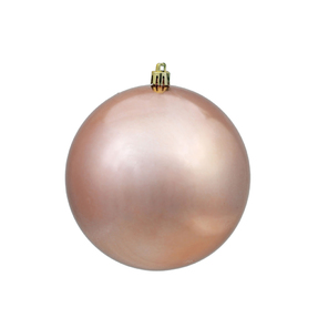 "Rose Gold Ball Ornaments 12"" Shiny Set of 2"