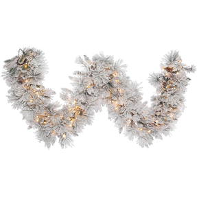 Flocked Siberian Pine Garland LED 9' x 18""