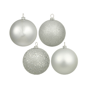 "Silver Ball Ornaments 4"" Assorted Finish Set of 12"