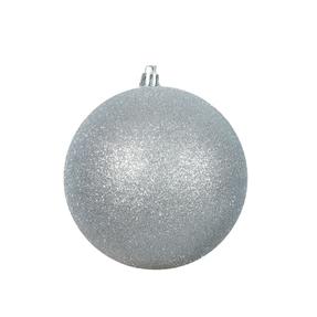 "Silver Ball Ornaments 4"" Glitter Set of 6"