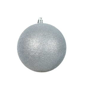 "Silver Ball Ornaments 4.75"" Glitter Set of 4"