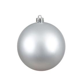 "Silver Ball Ornaments 4"" Matte Set of 6"