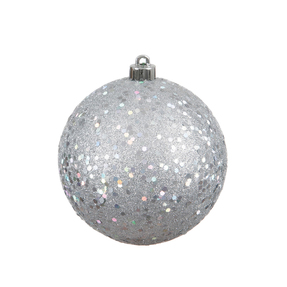 """Silver Ball Ornaments 4.75"""" Sequin Set of 4"""