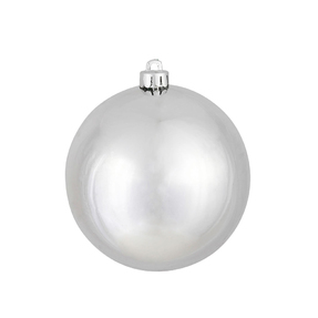 "Silver Ball Ornaments 4"" Shiny Set of 6"
