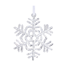 "Small Clear Snowflake Ornament 5"" Set of 4"
