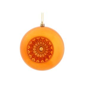"""Solaris Ball Ornament 5.7"""" Set of 4 Burnished Orange"""