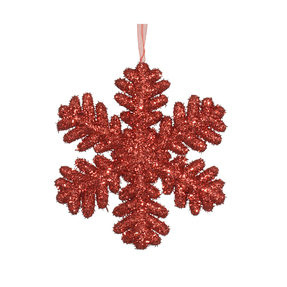 "Sparkle Snowflake 9"" Set of 2 Red"