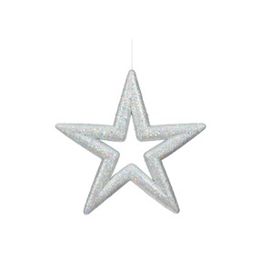 "Stella Outdoor Glitter Star 14"" Set of 2 Silver"