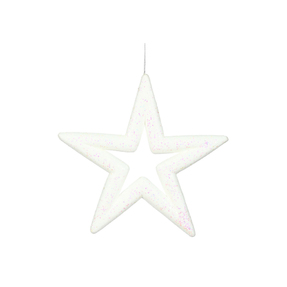 "Stella Outdoor Glitter Star 14"" Set of 2 White"