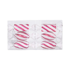 "Striped Bonbon Ornament 4"" Set of 6 Asst. Hot Pink"
