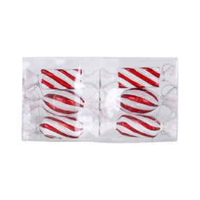 "Striped Bonbon Ornament 4"" Set of 6 Asst. Peppermint"