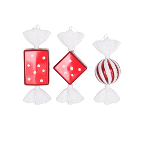 "Taffy Ornaments 8"" Set of 3 Asst. Peppermint"