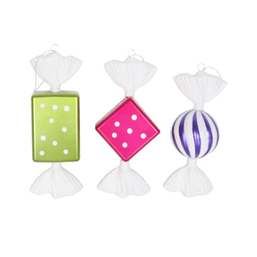 "Taffy Ornaments 8"" Set of 3 Asst."