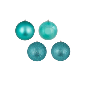 "Teal Ball Ornaments 10"" Assorted Finish Set of 4"