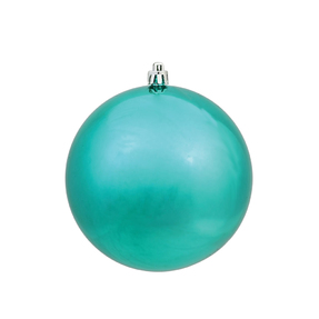 "Teal Ball Ornaments 4"" Shiny Set of 6"