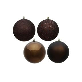 "Truffle Ball Ornaments 8"" Assorted Finish Set of 4"
