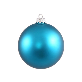 "Turquoise Ball Ornaments 8"" Matte Set of 4"