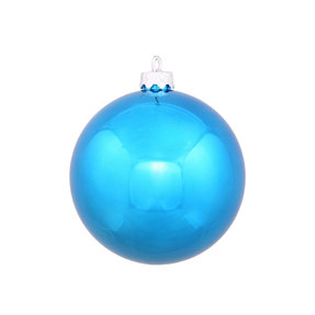 "Turquoise Ball Ornaments 4"" Shiny Set of 6"