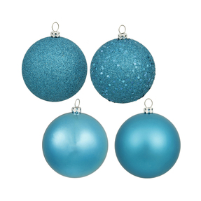 "Turquoise Ball Ornaments 6"" Assorted Finish Set of 4"