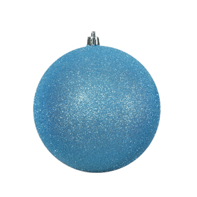 "Turquoise Ball Ornaments 4"" Glitter Set of 6"