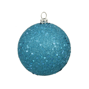 "Turquoise Ball Ornaments 8"" Sequin Set of 4"