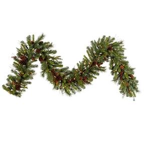 "Holiday Pine Garland LED 9' x 14"""