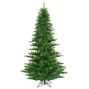 6.5' Vintage Green Fir Full w/ Green Lights
