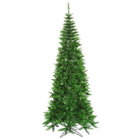 9' Vintage Green Fir Slim w/Green Lights