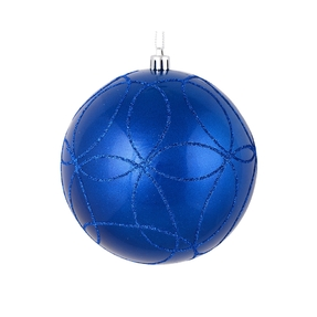 "Viola Ball Ornament 4"" Set of 4 Blue"