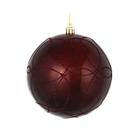 "Viola Ball Ornament 6"" Set of 3 Burgundy"