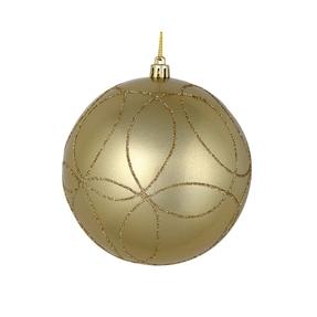 "Viola Ball Ornament 4"" Set of 4 Champagne"
